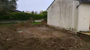 Terrassement pour préparer la construction de l'extension