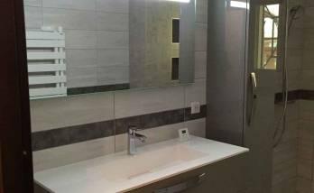 Photographie finale : douche et meuble vasque.