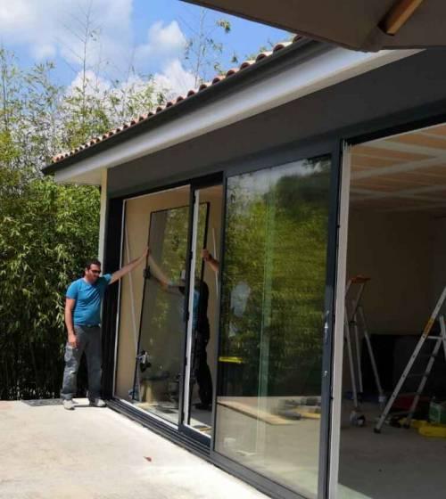 Pose de baies vitrées 4 vantaux