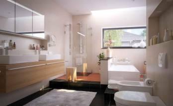 Vue d'ensemble de la salle de bain.