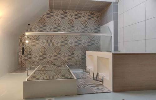Salle de bain graphique carreau de ciment Essonne 91