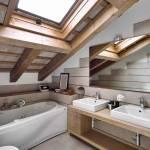 Salle de bains sous pente (source : archzine.fr)
